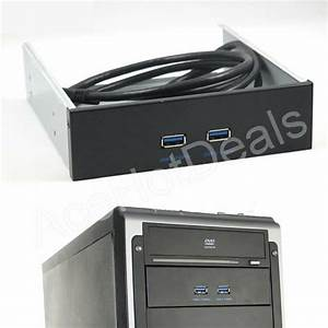 5 25 U0026quot  Floppy Disk Bay Hub Bracket Cable 20 Pin 2 Port Usb 3 0 Front Panel