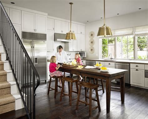 rustic counter height table Kitchen Traditional with