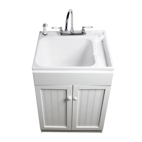 kitchen faucet with built in sprayer shop asb white composite freestanding utility tub at lowes