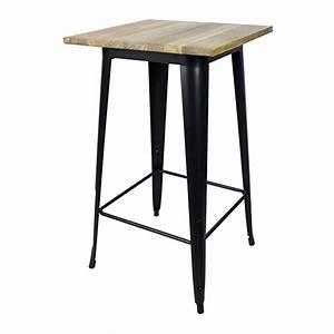 Table De Bar Carre En Acier Noir Mat Et Plateau Orme