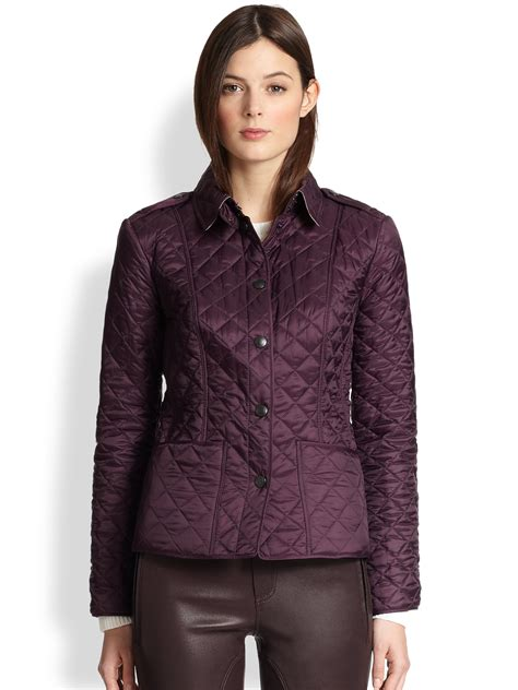 burberry quilted jacket womens burberry kencott quilted jacket in purple lyst