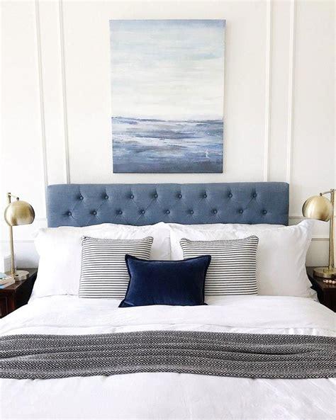 decorating  blue bedroom  blue headboard coastal