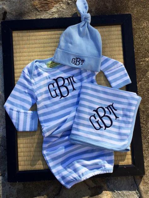 monogrammed baby boy gown gift set  pc baby boy gown  cap preppy striped baby boy gown set