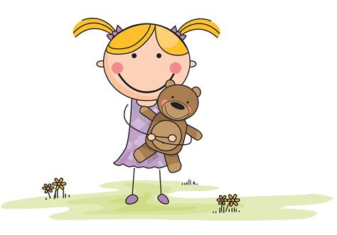 Vector Cartoon Girl With Stuffed Animal In Field