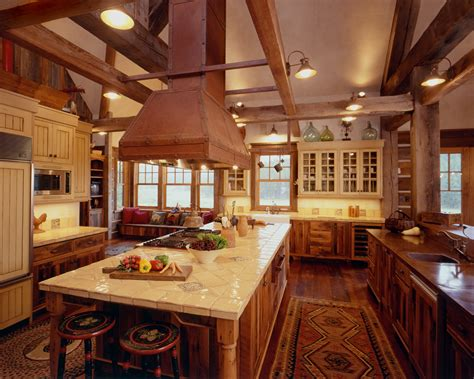 Kitchen Old Fashioned Rustic Cabin Kitchens Also Cottage