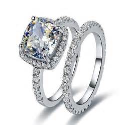 synthetic engagement rings 2ct excellent cushion nscd synthetic engagement ring with band solid sterling silver