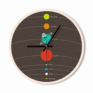 Wall Clock solar system clock colorful from Snowbald ...