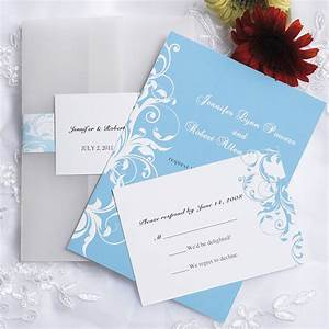 Vintage light blue damask pocket wedding invitations for Wedding invitation designs light blue