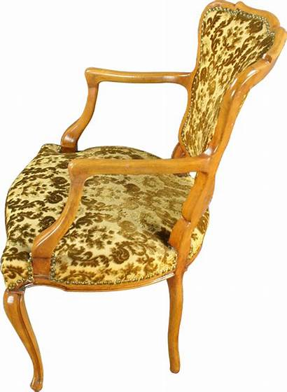 French Upholstered Accent Chair Country Arm Gold