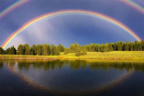 summer rainbow forest sky light reservoir lake river water