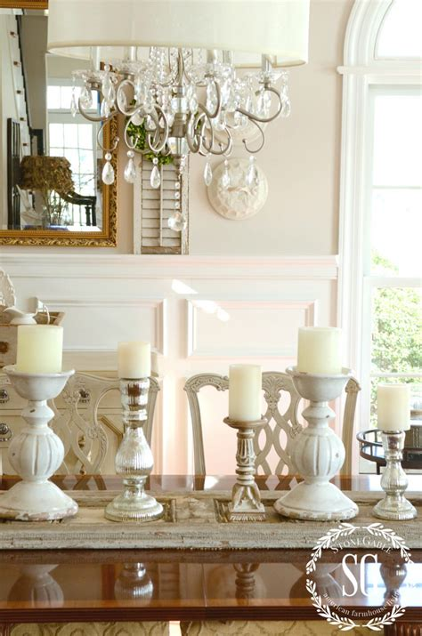 A dining room has an important role to build a warm atmosphere inside a family. WINTER DECOR~ ADDING CANDLE GLOW AND SHUTTERS - StoneGable