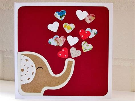 valentines card elephant card love card handmade