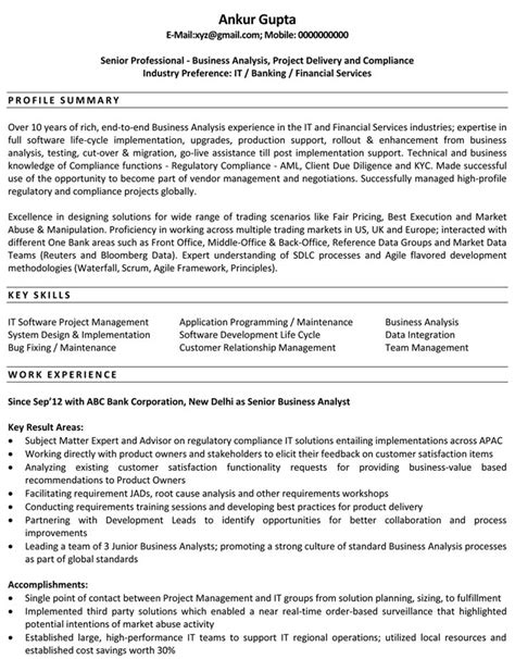 How To Write Resume For Business Analyst by Business Analyst Hr Resume