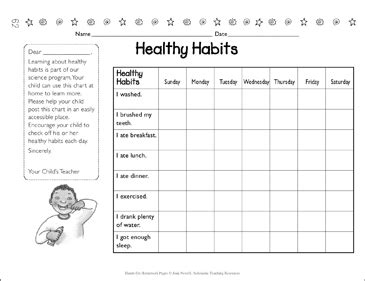 healthy habits chart printable forms record sheets and skills sheets