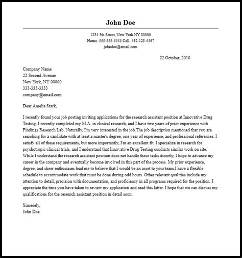 professional research assistant cover letter sle