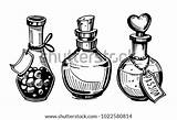 Poison Potion Bottles Drawing Drawn Bottle Hand Potions Illustration Template Vector Coloring Clip Sketch Converted Shutterstock Artwork Illustrations sketch template