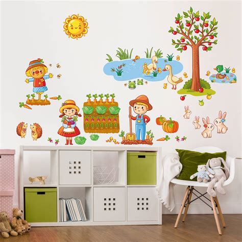 Wandtattoo Kinderzimmer At by Wandtattoo Kinderzimmer Bauernhof Set Mit Garten