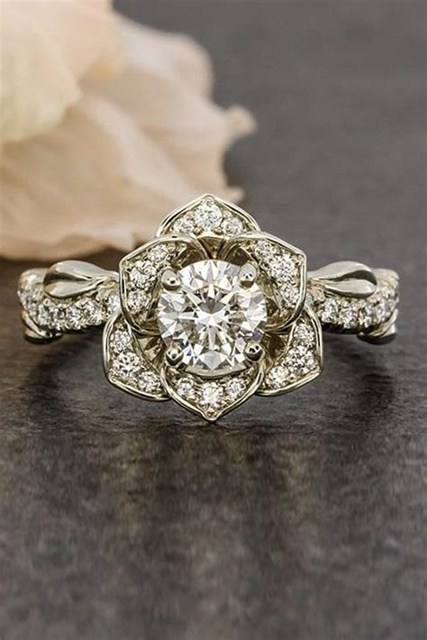 flower engagement rings for feminine bridal oh so