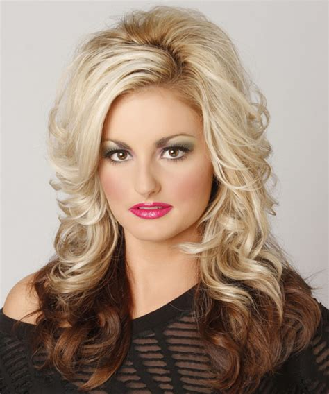two tone hair color on top light on bottom wavy formal hairstyle with side swept bangs light