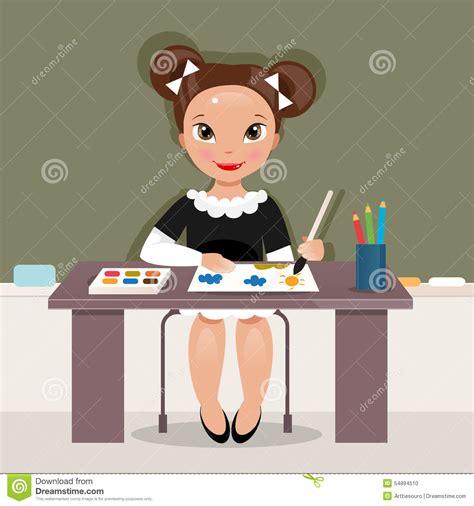 girl   drawing lesson vector illustration stock