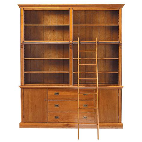 solid wood bookshelf solid wood bookcase with ladder w 193cm voyage maisons