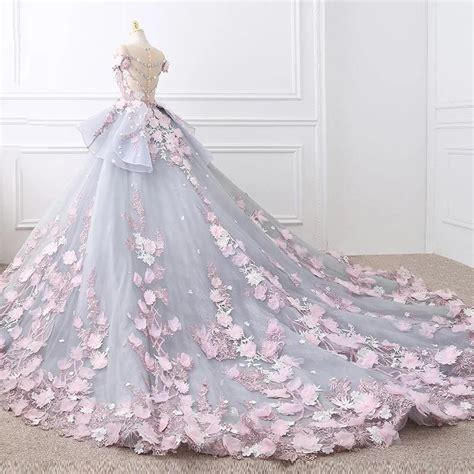 Floral Lace Wedding Dresses Ball Gowns With 3d Flowers