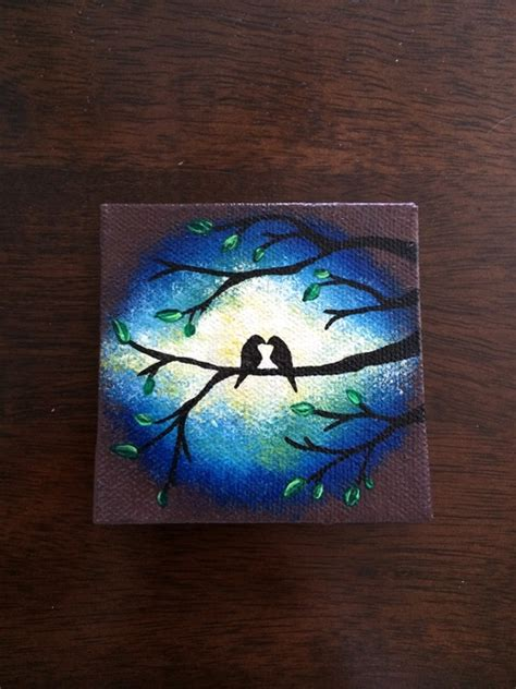 love birds  tree  blue night sky  mini canvas hand