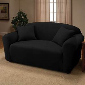 Black jersey sofa stretch slipcover couch cover chair for Couch seat cover