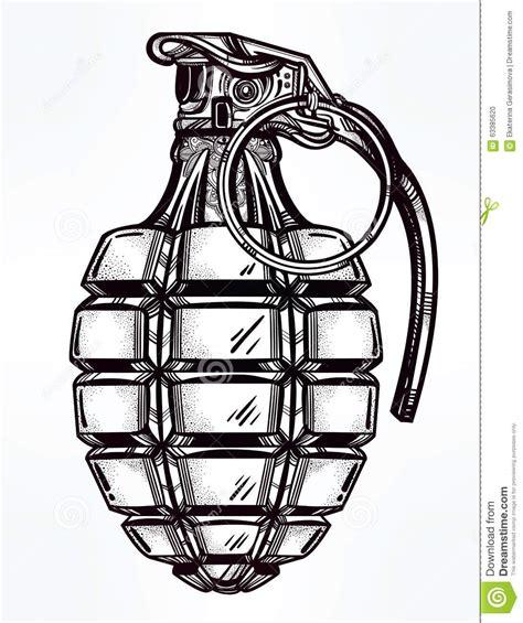 hand drawn design   army manual grenade stock vector