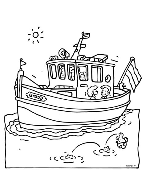 Speedboot Kleurplaat by Kleurplaat Boot Met Kinderen Kleurplaten Nl