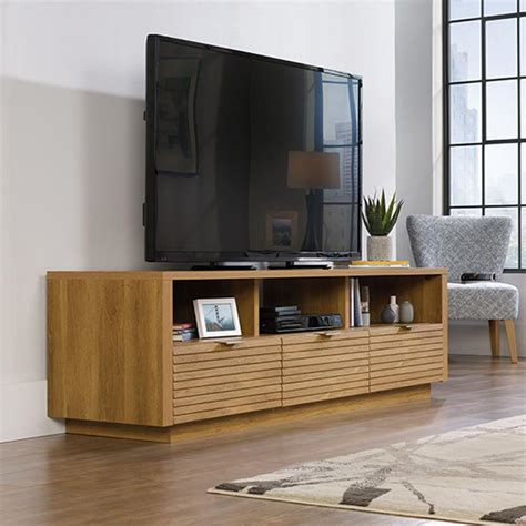 Entertainment Credenzas by Sauder Harvey Park Pale Oak Entertainment Credenza 414986