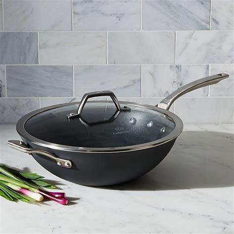 calphalon wok  lid nonstick flat bottom crate  barrel