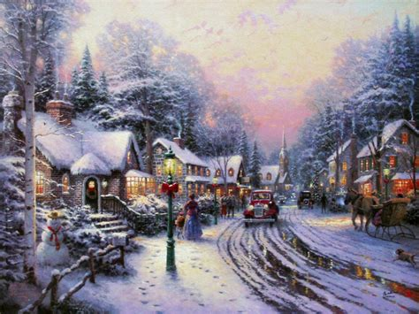 thomas kinkade village christmas 200 600 pp canvas with