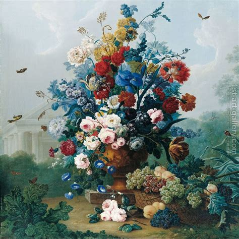 flower painting flowers bouquet in vase against a doric