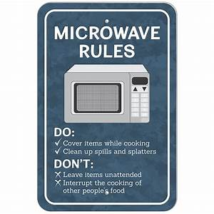 Plastic Sign Microwave Rules Office eBay