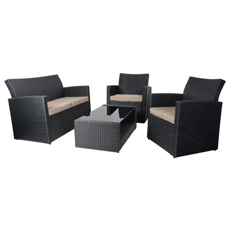 Complete your yard setup with outdoor accent tables. Black Tuscany Rattan Wicker Sofa Garden Set With Coffee Table