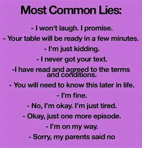 Funny Facebook Status: Most common lies funny facebook status