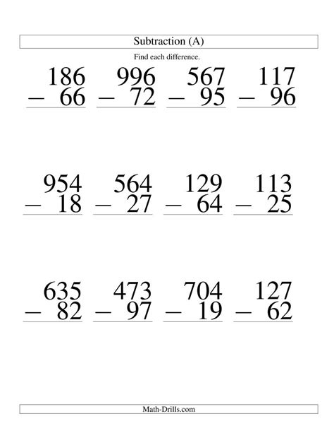 digit   digit subtraction large print