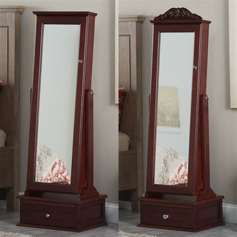 Cheval Mirror Jewelry Armoire by Belham Living Removable Decorative Top Locking Mirrored