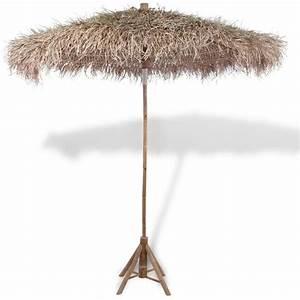 Parasol De Jardin : parasol en bambou avec toit en feuilles de bananier 270 cm ~ Teatrodelosmanantiales.com Idées de Décoration
