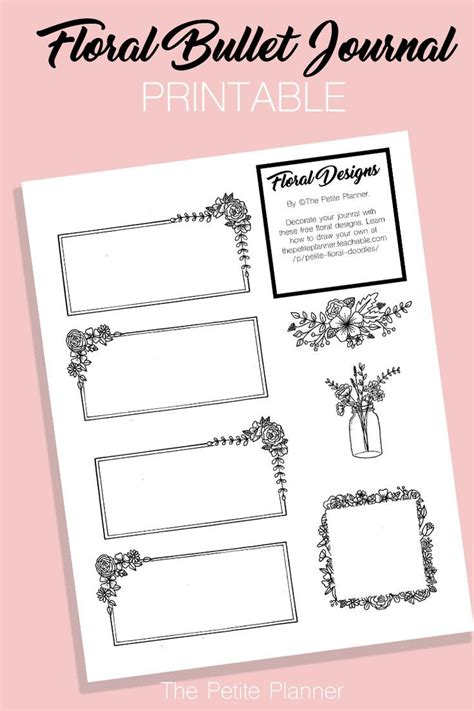 bullet journal printable floral doodle boxes