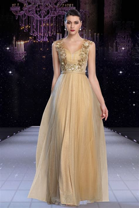 gorgeous   open  long gold tulle applique beaded