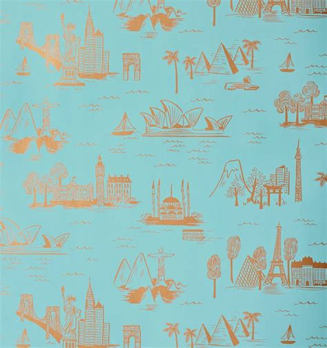 city toile robins egg wallpaper  hygge west