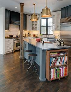 kitchen island with bookcase transitional kitchen With kitchen colors with white cabinets with forth rail bridge wall art