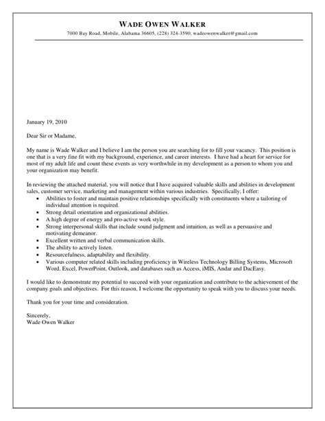 Walker Resume Cover Letter by Resume And Cover Letter For Wade Walker 2010