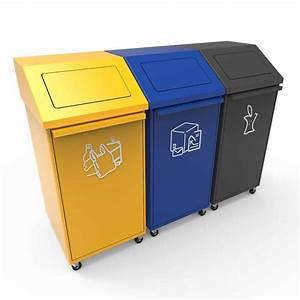 Poubelle De Tri Selectif : pori poubelle tri recyclage avec couvercle basculant et roues ~ Farleysfitness.com Idées de Décoration