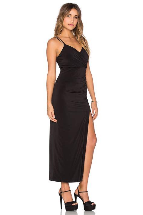 nadila maxi bardot maxi dress in black lyst