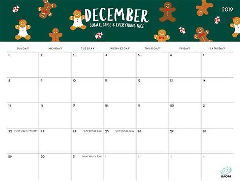 foodie printable calendars  moms imom december calendar calendar