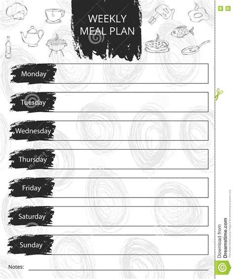 weekly meal plan mealtime vector diary cartoon vector