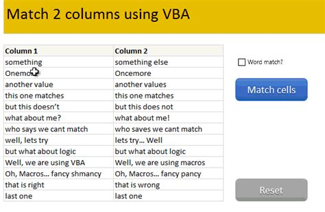 Compare 2 Sets Of Data By Letter Or Word & Highlight Mismatches [vba] » Chandooorg Learn